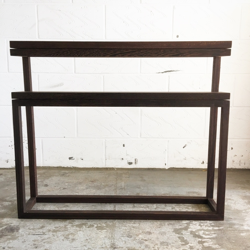 two tiered wenge console table plane able. Black Bedroom Furniture Sets. Home Design Ideas