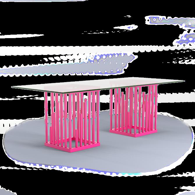 Ultra Modern Dining Table Neon Pink Hot Pink Moderne Design Square ...