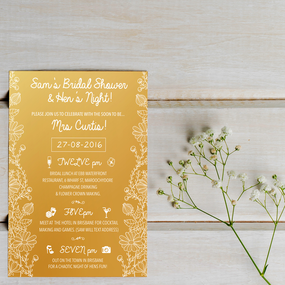 Floral gold hen do invitation sh design malvern floral gold hen do invitation stopboris Image collections
